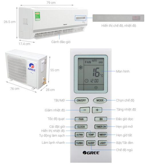 máy lạnh Gree 2.5 hp, máy lạnh 2.5 hp treo tường Gree , máy lạnh Gree 2.5 ngựa
